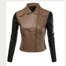 Women Black Brown Biker Leather Jacket