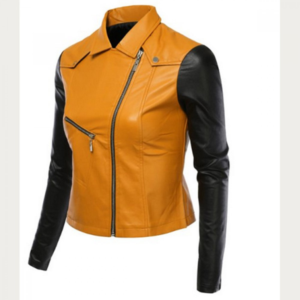 Women Black / Yellow Biker Leather Jacket