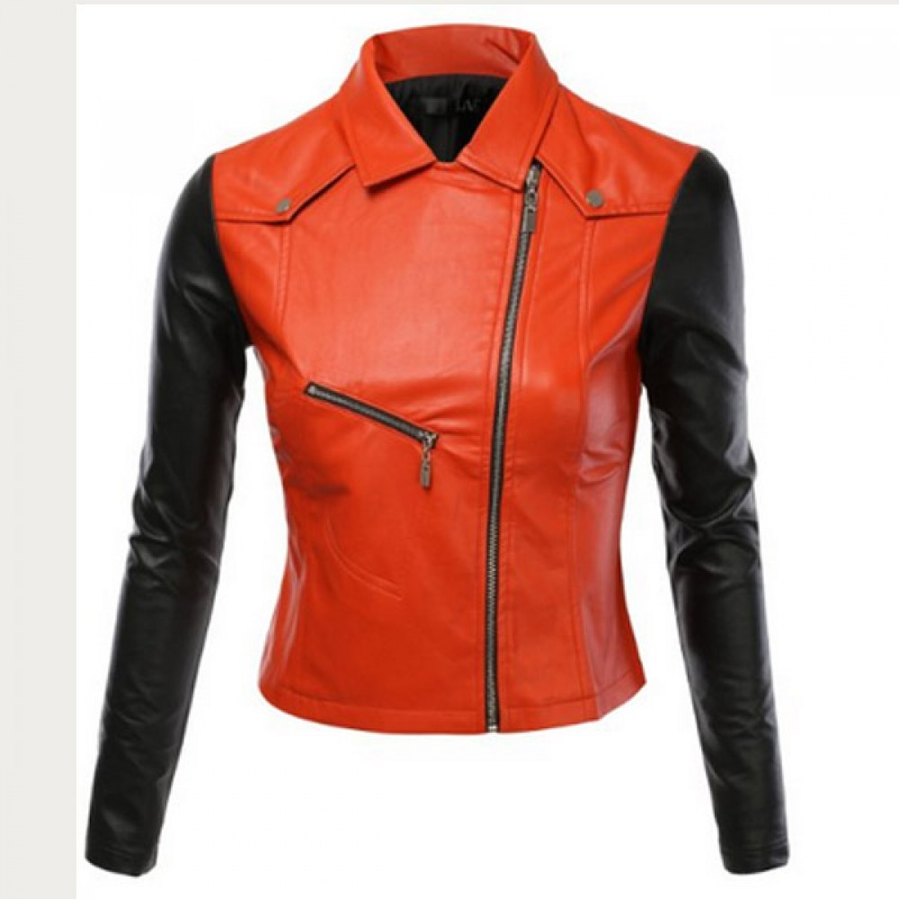 Women Black / Red Biker Leather Jacket