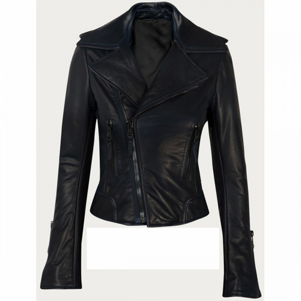 Women Fashionable Black Leather Jacket