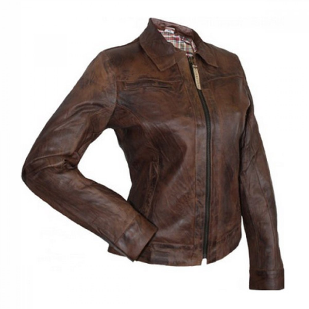 Designer Front Zipper Brown Leather Jacket