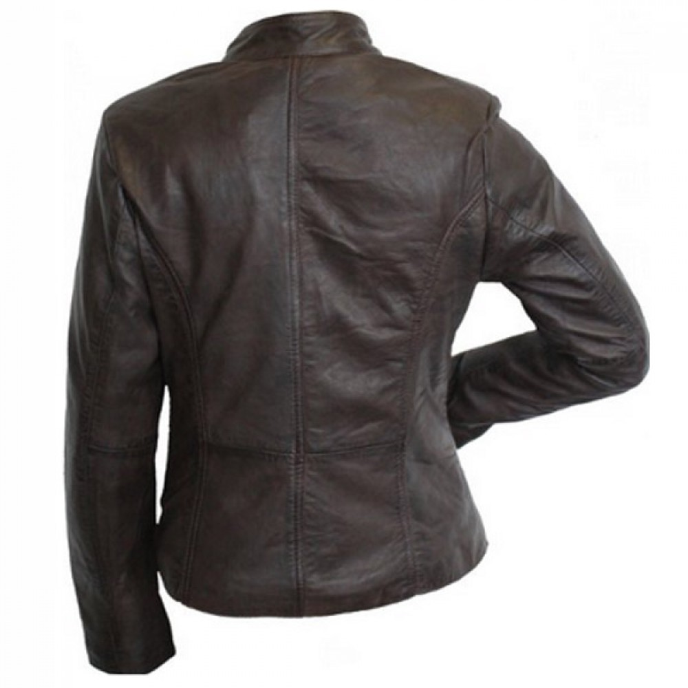Designer Front Zipper Dark Brown Leather Jacket