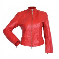 Designer Front Zipper Red Leather Jacket