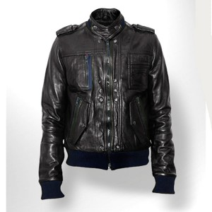 Men Designer Black Bomber Leather Jacket