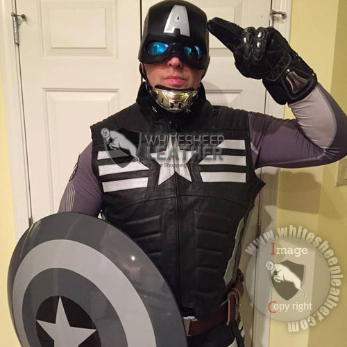 Custom Captain America Real leather Vest and pants